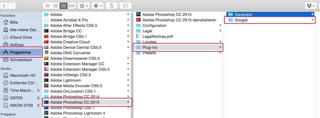 Adobe CC 2015 Plugins Ordner